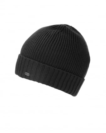 Mens C-Fati2 Beanie, Ribbed Wool Black Hat