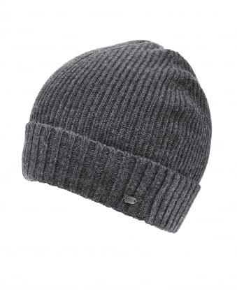 Mens C-Fati2 Beanie, Ribbed Wool Charcoal Hat