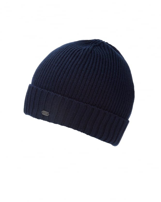 Hugo Boss Green Mens C-Fati2 Beanie, Ribbed Wool Navy Blue Hat