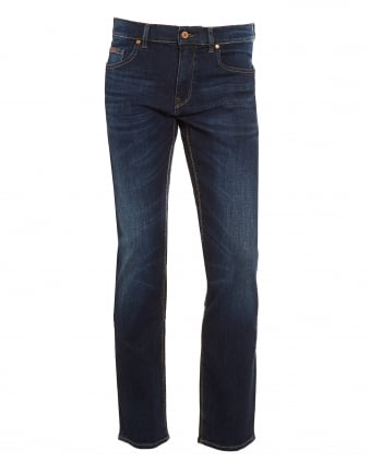 Mens C-Maine Jeans, Dark Blue Whisker Vintage Wash