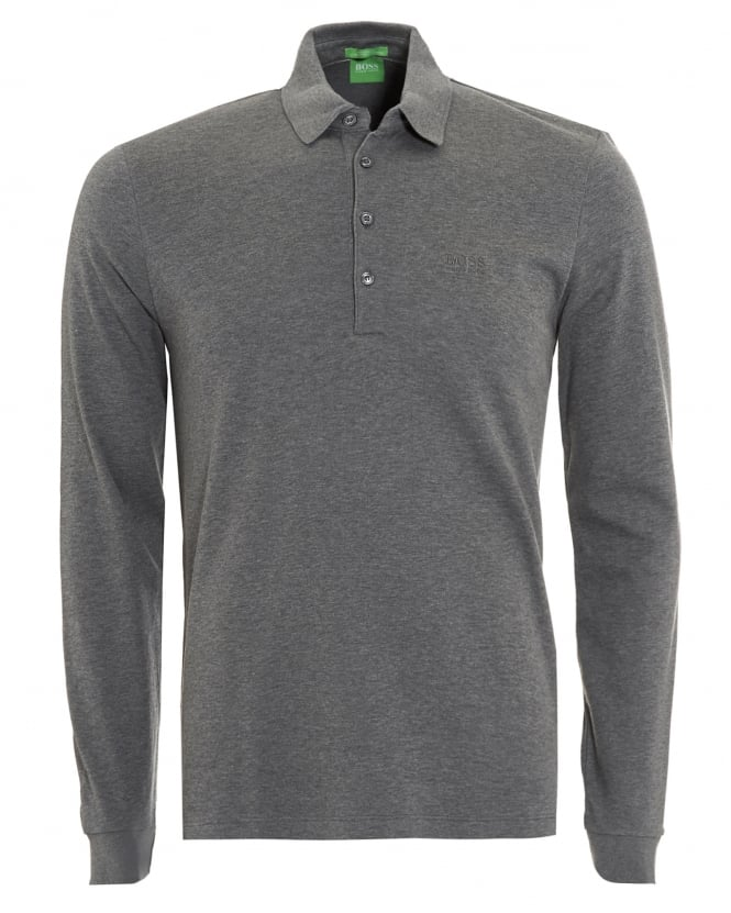 Hugo Boss Green Mens C-Paderna 30 Polo Shirt, Grey Long Sleeve Polo