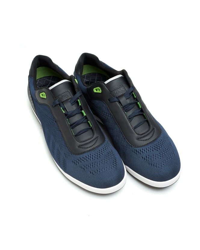 Hugo Boss Green Mens Dark Blue Trainers, Arkansas_Lowp_mxme Low Top Sneakers