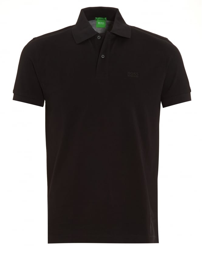 Hugo Boss Green Mens Firenze Logo Polo Shirt, Black Regular Fit Logo Polo