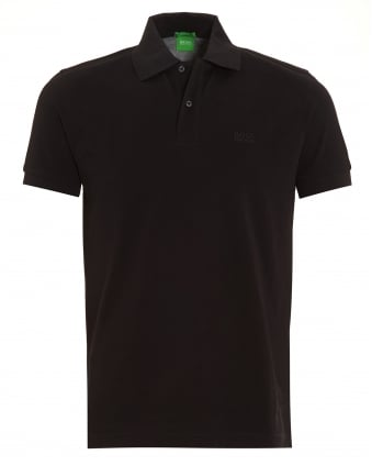 Mens Firenze Logo Polo Shirt, Black Regular Fit Logo Polo