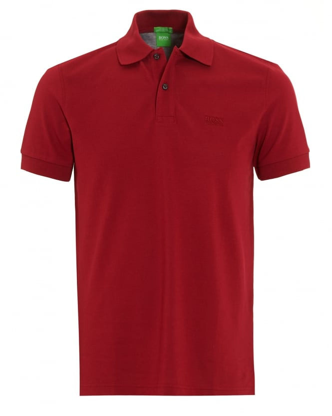Hugo Boss Green Mens Firenze Logo Polo Shirt, Red Regular Fit Polo