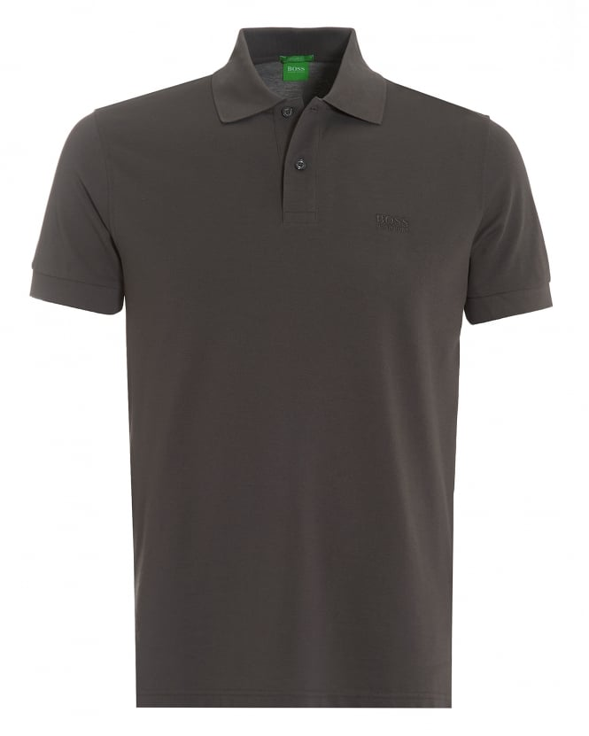 Hugo Boss Green Mens Firenze Polo, Pima Cotton Magnet Grey Polo Shirt
