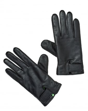 Mens Gans 3 Gloves, Branded Wrist Fixing Black Gloves
