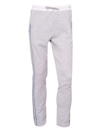 Mens Helnio Trackpants, Cuffed White Grey Sweatpants