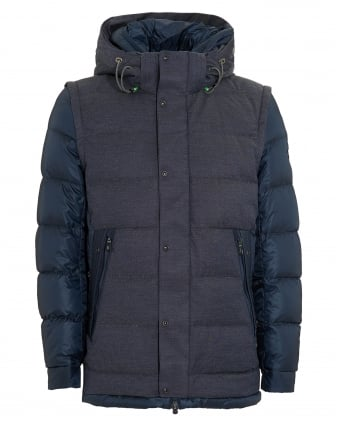 Mens Jiandro Coat, Navy Blue Puffa Jacket