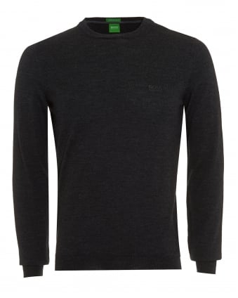 Mens Jumper, C-Caio_01 Charcoal Grey Wool Sweater