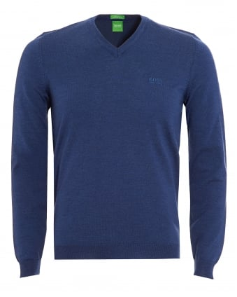 Mens Jumper, C-Callum V-Neck Blue Sweater