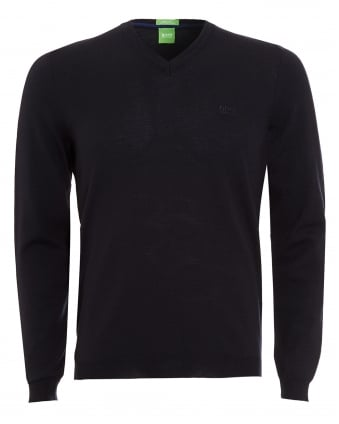 Mens Jumper, C-Callum V-Neck Navy Blue Sweater