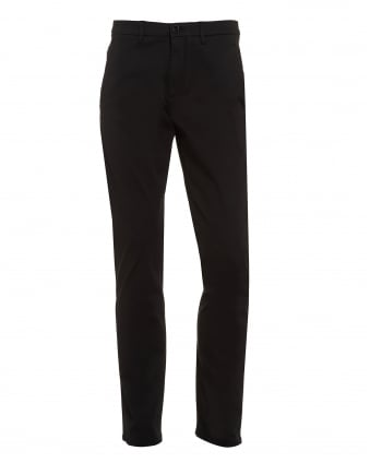 Mens Leeman-3W Trousers, Black Cotton Chinos