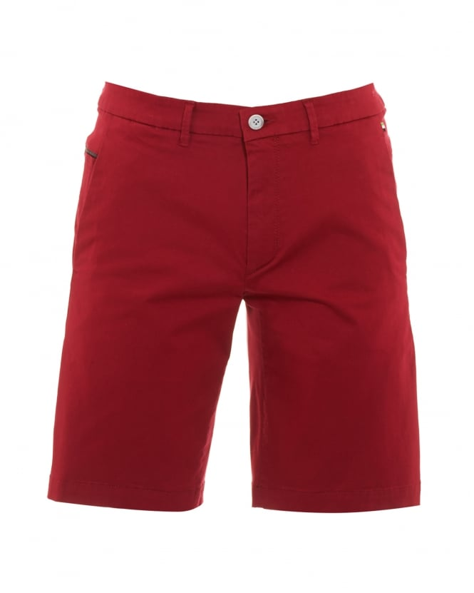 Hugo Boss Green Mens Liem2-2-W Shorts, Red Slim Fit Cotton Blend