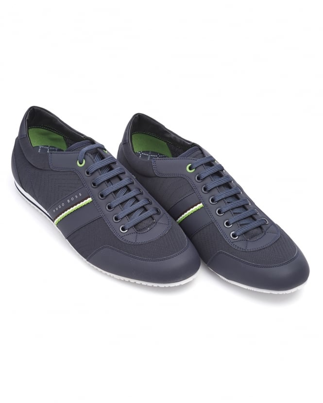 Hugo Boss Green Mens Lighter Low NEPR Trainer, Navy Blue Lace Up Sneaker