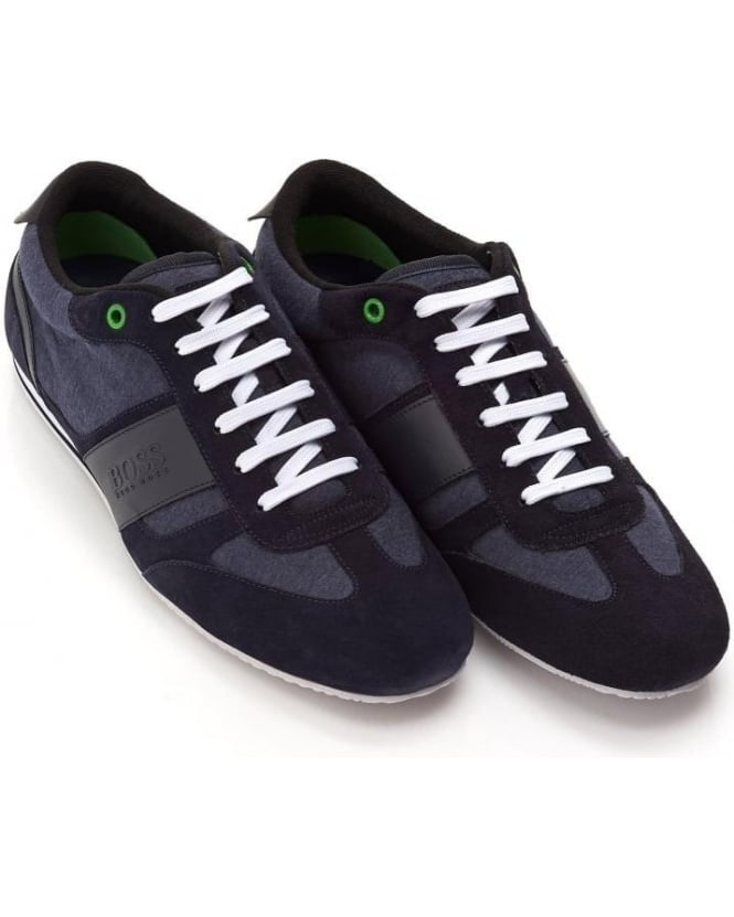 Hugo Boss Green Mens Lighter_Lowp_mxjs Trainers, Navy Blue Suede Sneakers