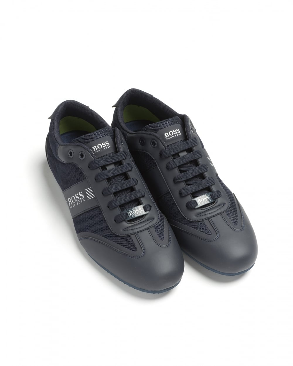 hugo boss green mens lighter lowp mxme logo mesh detail navy trainers. Black Bedroom Furniture Sets. Home Design Ideas