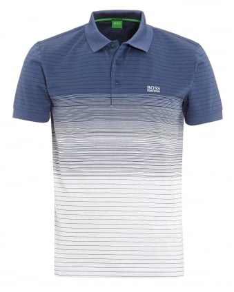 Mens Paddy 3 Blue White Faded Stripe Polo Shirt