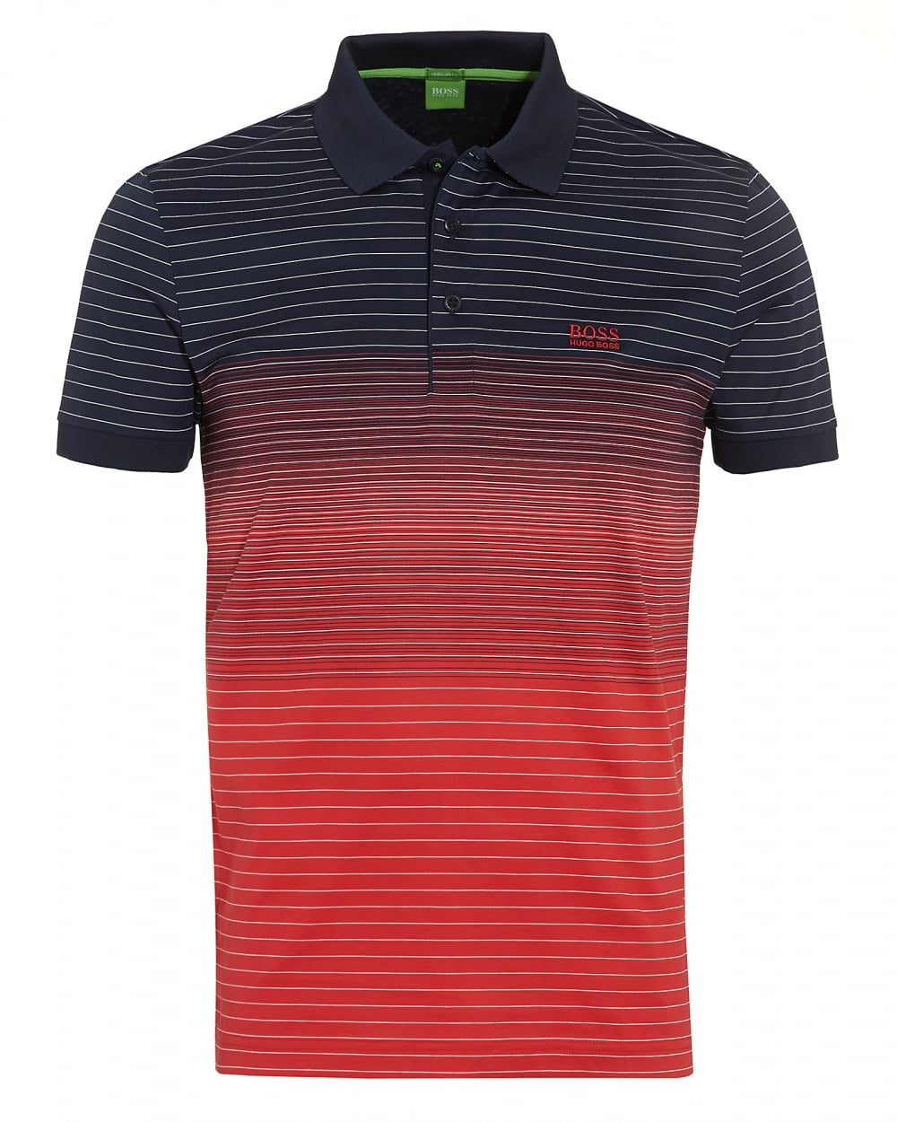 Hugo boss green mens paddy 3 navy red faded stripe polo shirt for Hugo boss green polo shirt sale