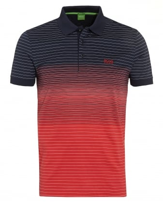 Mens Paddy 3 Navy Red Faded Stripe Polo Shirt