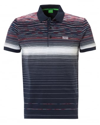 Mens Paddy 3 Polo Shirt, Engineered Stripe Navy Polo