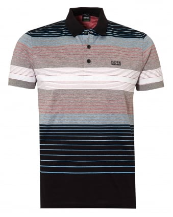 Mens Paddy 3 Polo Shirt, Multi Banded Stripe Black Polo