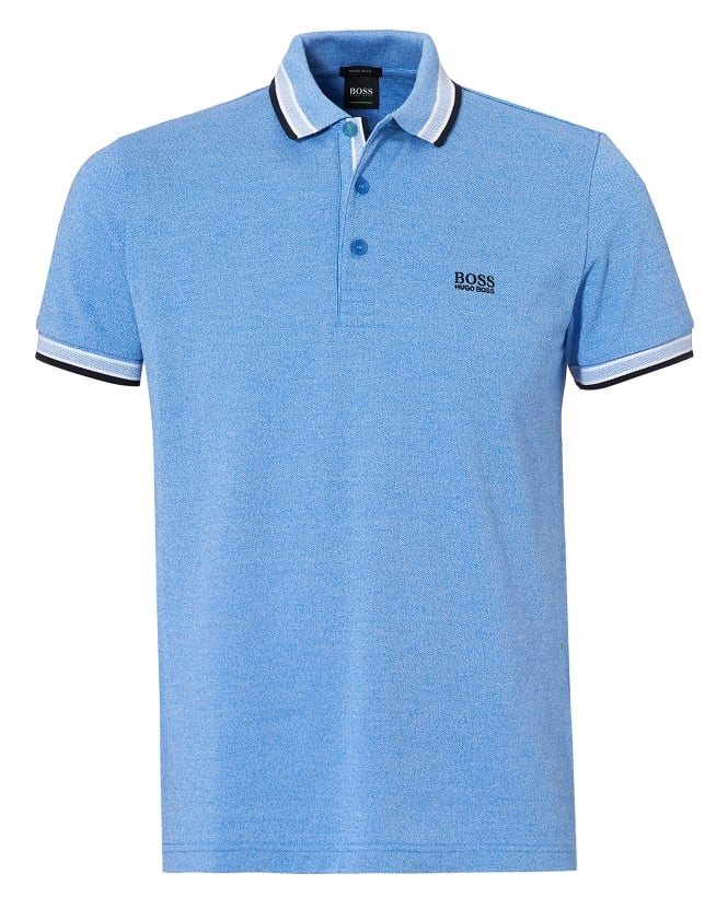 Hugo Boss Green Mens Paddy Polo, Contrast Tipping Blue Polo