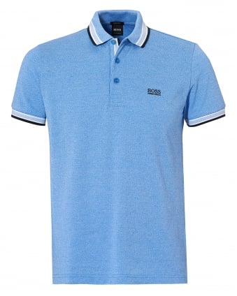 Mens Paddy Polo, Contrast Tipping Blue Polo