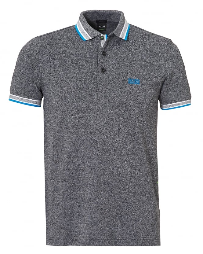 Hugo Boss Green Mens Paddy Polo, Contrast Tipping Grey Polo