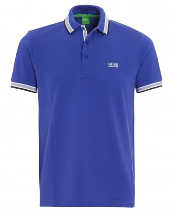 Mens Paddy Polo Shirt, Blue Tipped Logo Polo