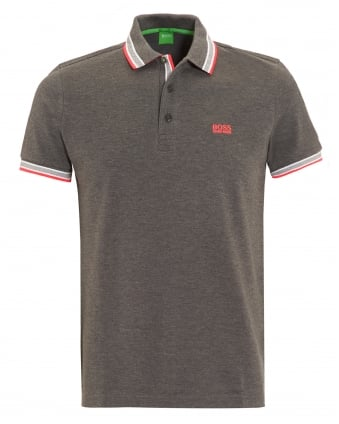 Mens Paddy Polo Shirt, Grey Tipped Logo Polo