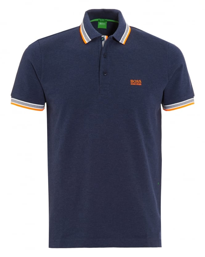 Hugo Boss Green Mens Paddy Polo Shirt, Navy Blue Tipped Logo Polo