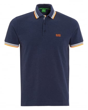 Mens Paddy Polo Shirt, Navy Blue Tipped Logo Polo