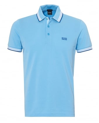 Mens Paddy Polo Shirt, Tipped Alaskan Blue Polo