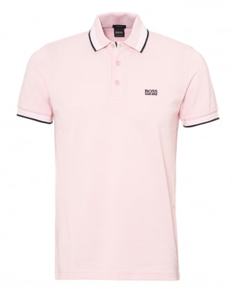 Mens Paddy Polo Shirt, Tipped Chalk Pink Polo