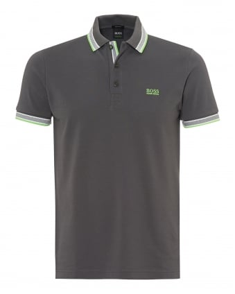 Mens Paddy Polo Shirt, Tipped Magnet Grey Polo