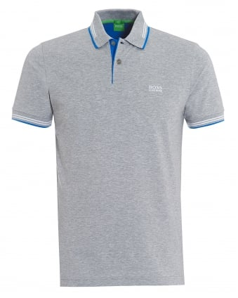 Mens Paul Polo, Broken Tip Grey Melange Polo Shirt