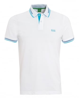 Mens Paul Polo, Broken Tip White Polo Shirt