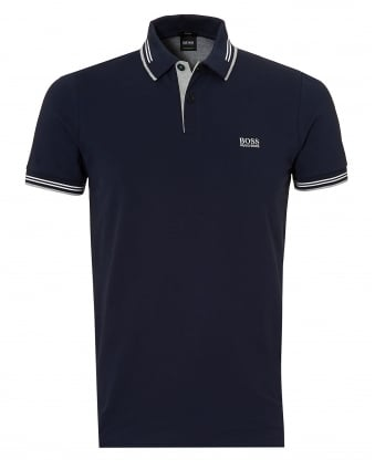 Mens Paul Polo Shirt, Slim Fit Thin Tipped Navy Blue Polo