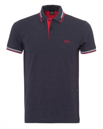 Mens Paul Polo Shirt, Slim Fit Tipped Dark Blue Polo