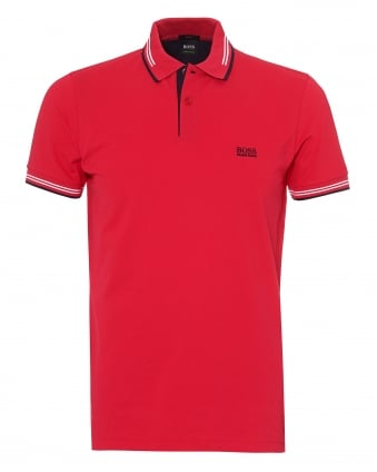 Mens Paul Polo Shirt, Slim Fit Tipped Red Polo