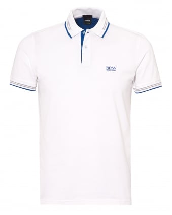 Mens Paul Polo Shirt, Slim Fit Tipped White Polo