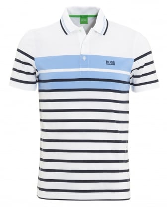 Mens Paule 3 Blue White Stripe Slim Fit Polo Shirt