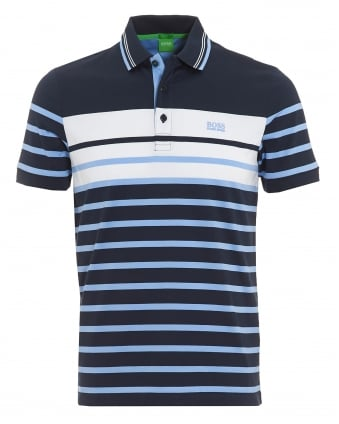 Mens Paule 3 Navy Blue Stripe Slim Fit Polo Shirt