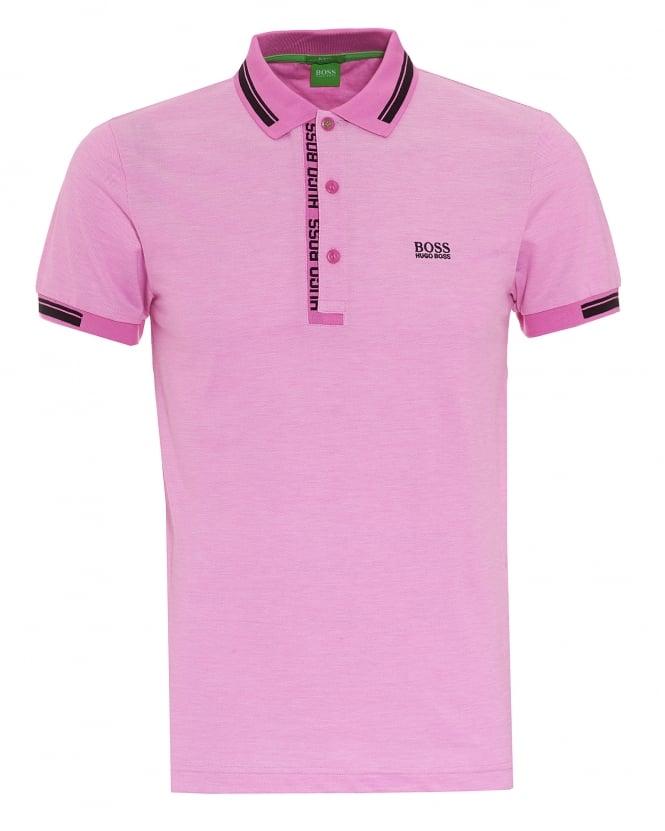 Hugo boss green mens paule 4 polo oxford pique open for Mens pink shirts uk