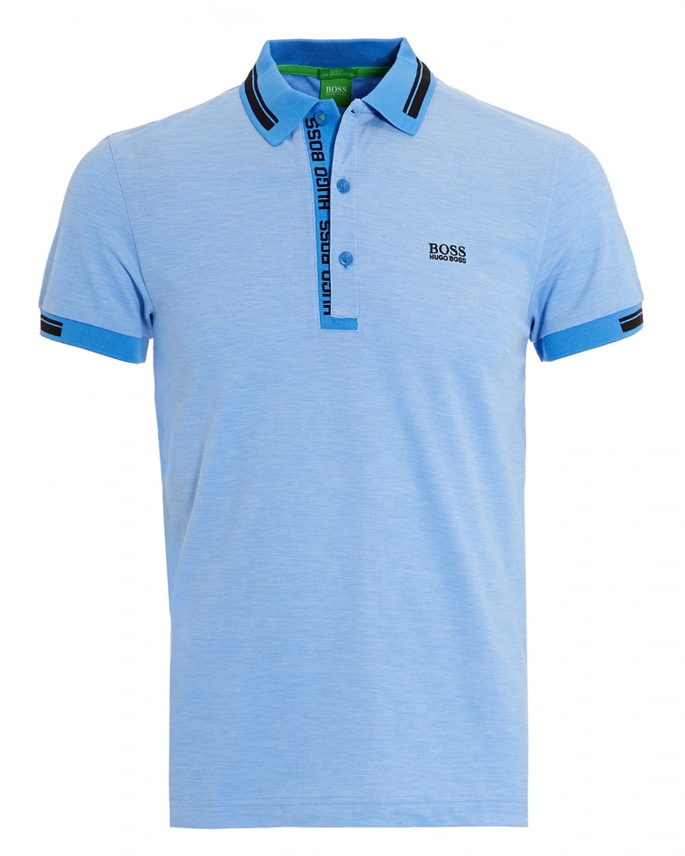 Hugo boss green mens paule 4 oxford pique regatta sky blue for Hugo boss green polo shirt sale