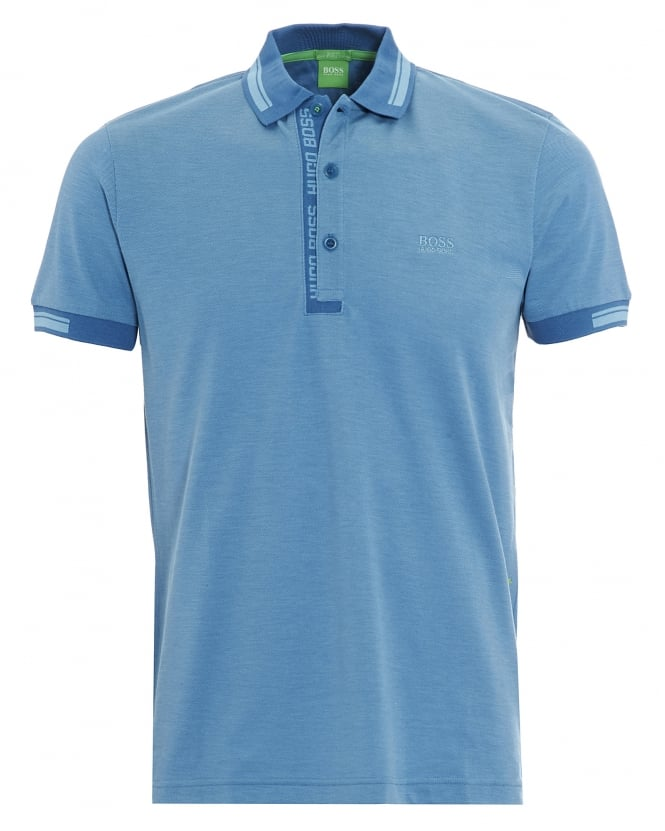 Hugo Boss Green Mens Paule 4 Polo Shirt, Blue Logo Tipped Polo