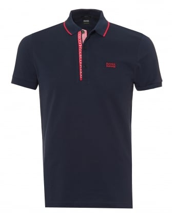 Mens Paule 4 Polo Shirt, Cotton Piqué Navy Blue Polo