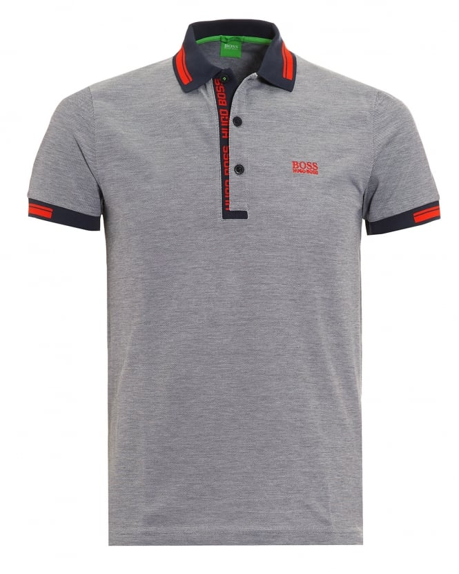 Hugo Boss Green Mens Paule 4 Polo Shirt, Grey Logo Red Tipped Polo