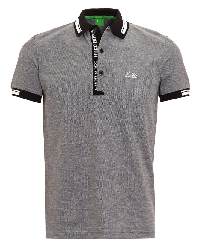 Hugo Boss Green Mens Paule 4 Polo Shirt, Grey Logo White Tipped Polo